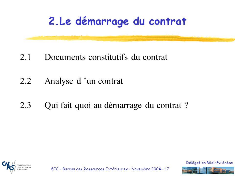 2.Le démarrage du contrat