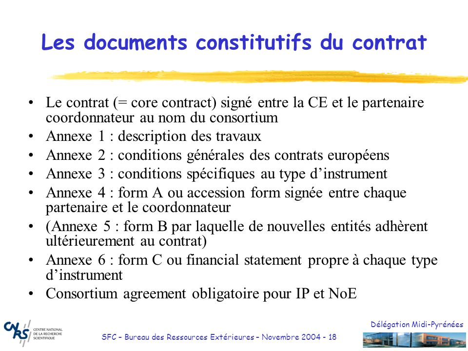 Les documents constitutifs du contrat