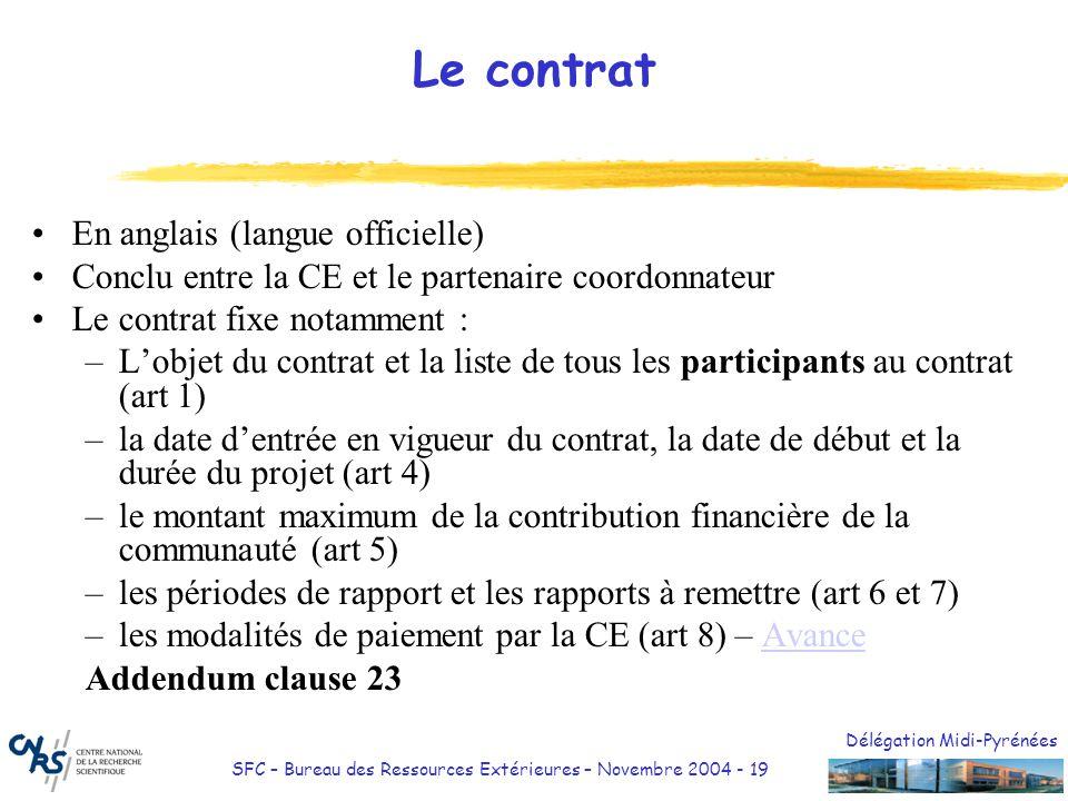 Le contrat En anglais (langue officielle)