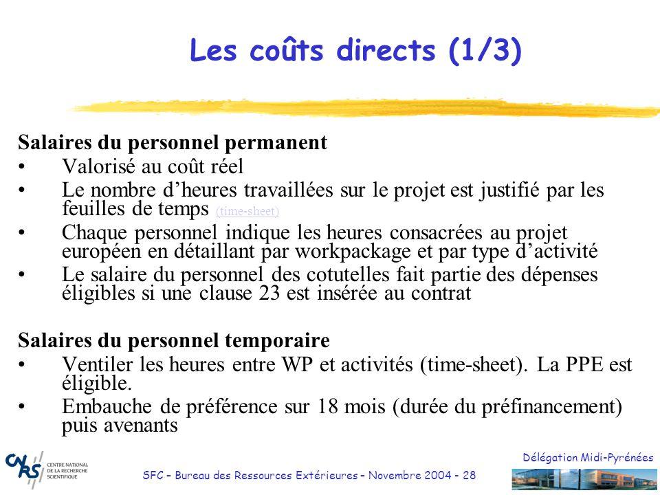 Les coûts directs (1/3) Salaires du personnel permanent