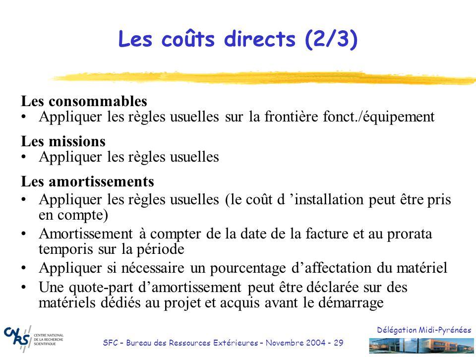 Les coûts directs (2/3) Les consommables