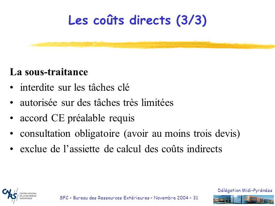 Les coûts directs (3/3) La sous-traitance interdite sur les tâches clé