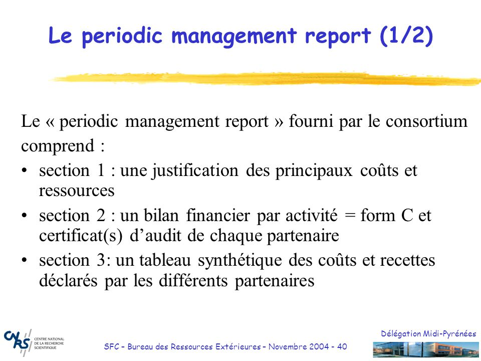 Le periodic management report (1/2)