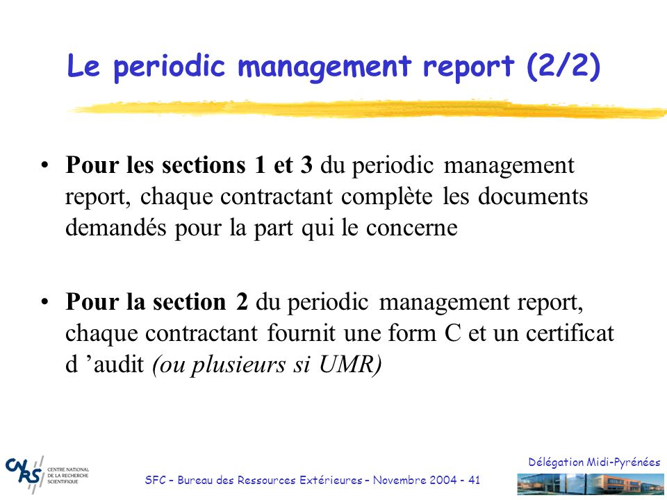 Le periodic management report (2/2)