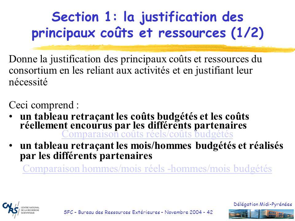 Section 1: la justification des principaux coûts et ressources (1/2)
