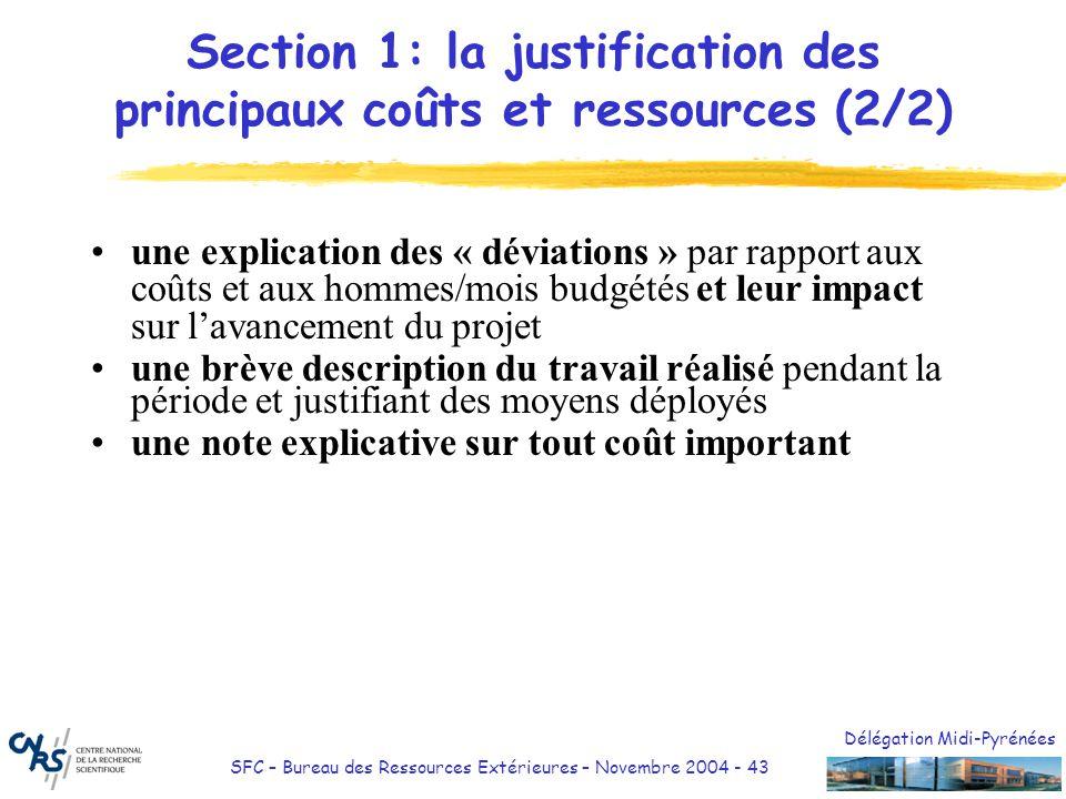 Section 1: la justification des principaux coûts et ressources (2/2)