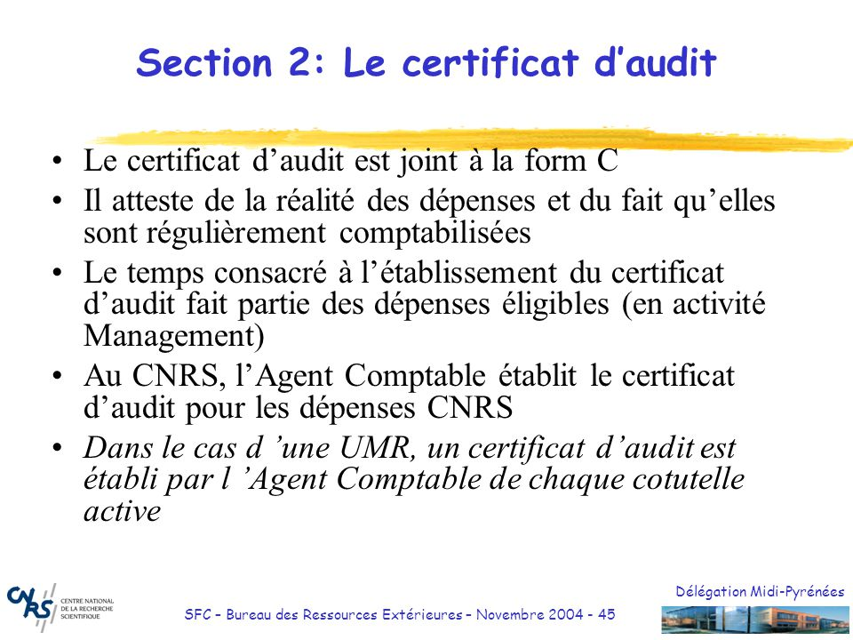Section 2: Le certificat d'audit