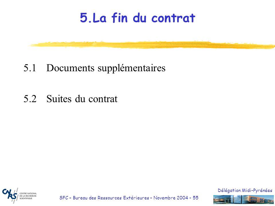 5.La fin du contrat 5.1 Documents supplémentaires