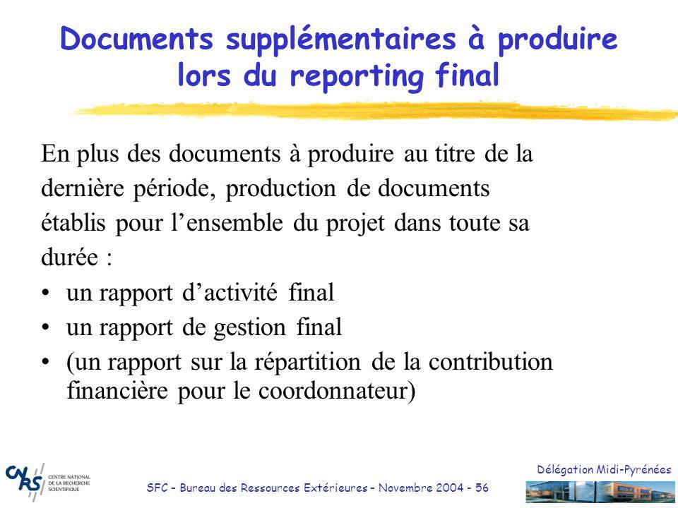 Documents supplémentaires à produire lors du reporting final