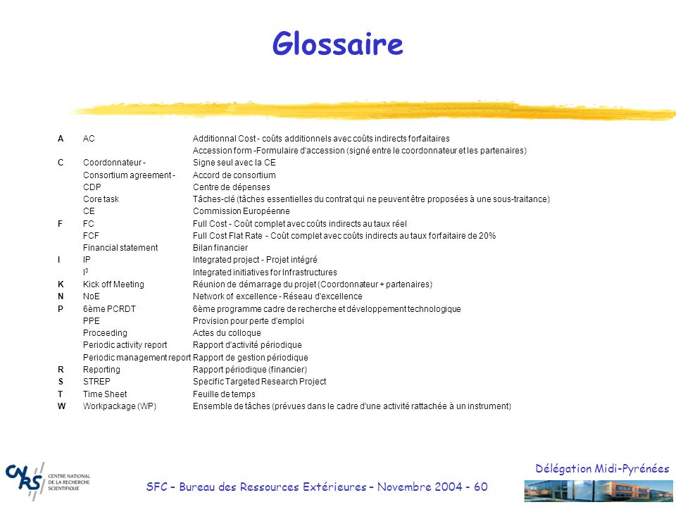 Glossaire A AC Additionnal Cost - coûts additionnels avec coûts indirects forfaitaires.