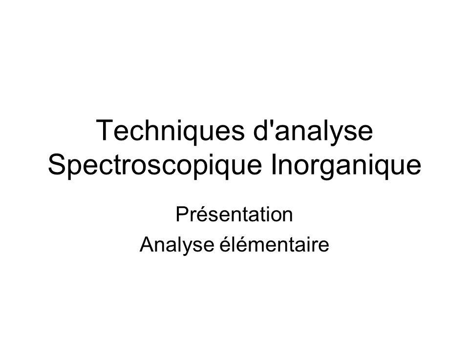 Techniques d analyse Spectroscopique Inorganique