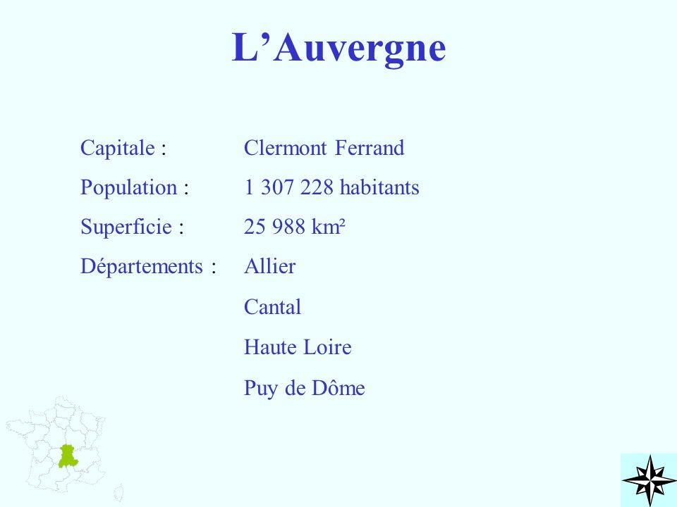 L'Auvergne Capitale : Clermont Ferrand Population :