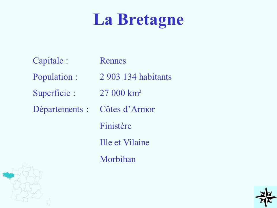 La Bretagne Capitale : Rennes Population : 2 903 134 habitants