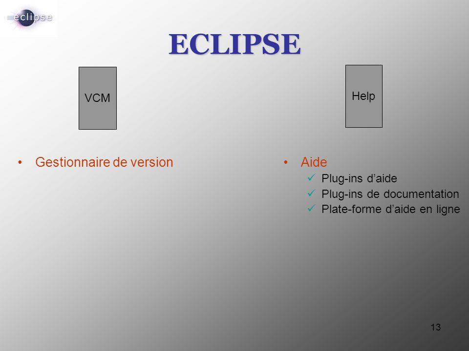 ECLIPSE Gestionnaire de version Aide Help VCM Plug-ins d'aide