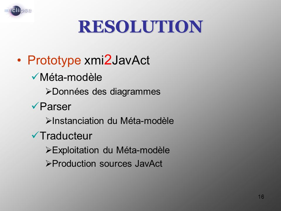 RESOLUTION Prototype xmi2JavAct Méta-modèle Parser Traducteur