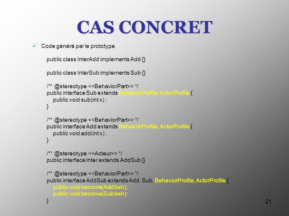 CAS CONCRET Code généré par le prototype