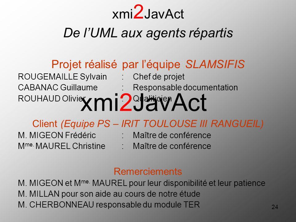xmi2JavAct xmi2JavAct De l'UML aux agents répartis