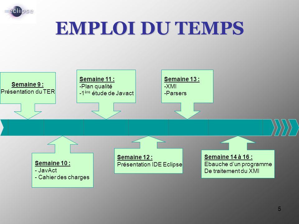 EMPLOI DU TEMPS Semaine 11 : -Plan qualité -1ère étude de Javact
