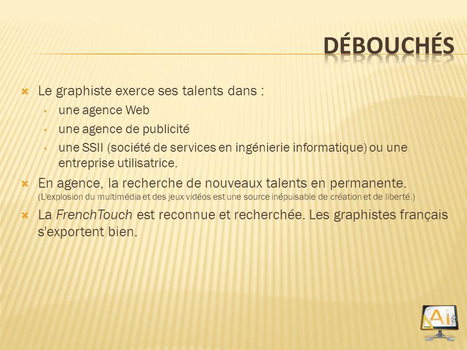 Débouchés Le graphiste exerce ses talents dans :