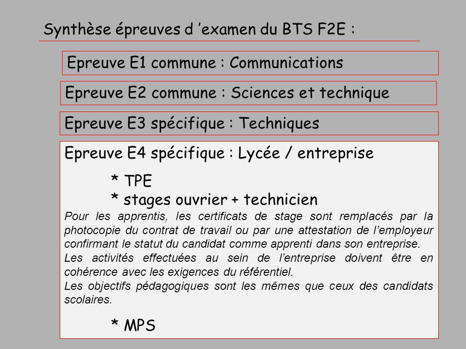Synthèse épreuves d 'examen du BTS F2E :