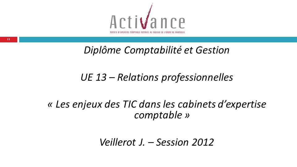 Diplôme Comptabilité et Gestion UE 13 – Relations professionnelles « Les enjeux des TIC dans les cabinets d'expertise comptable » Veillerot J.