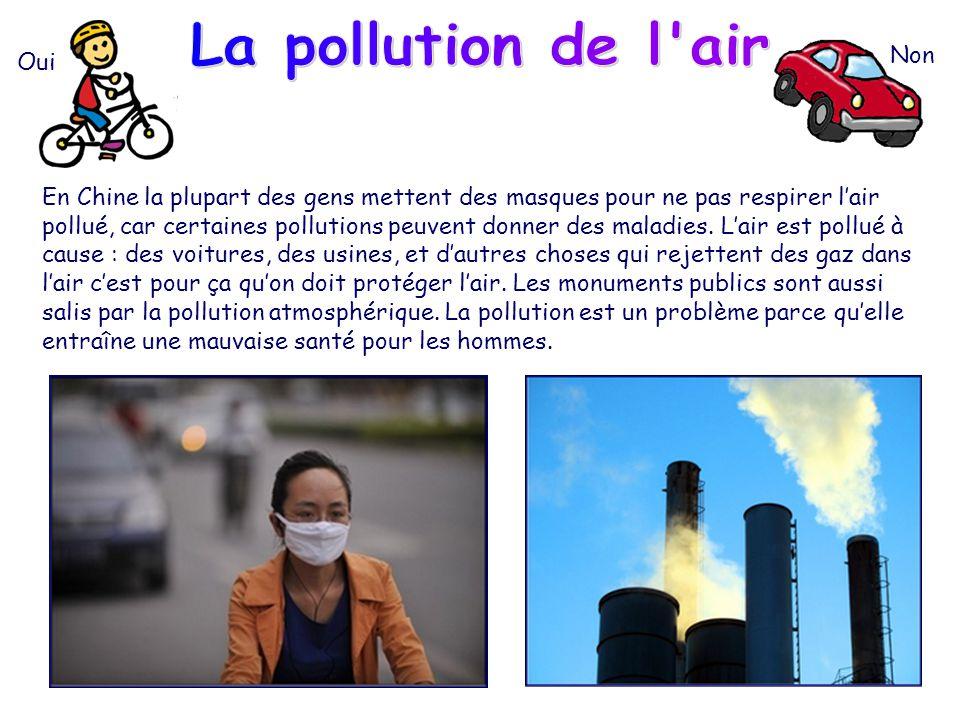 La pollution de l air Non Oui
