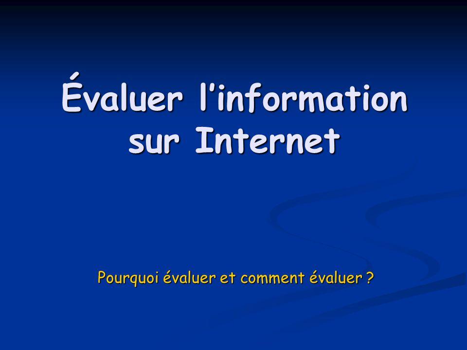 Évaluer l'information sur Internet