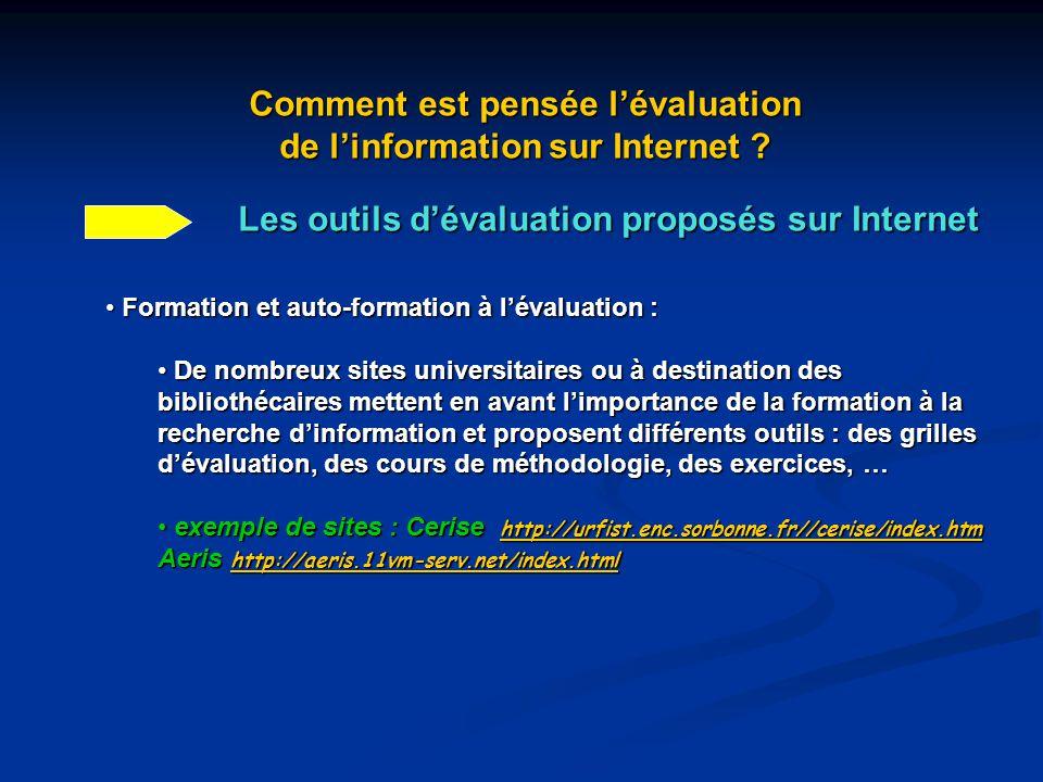 Comment est pensée l'évaluation de l'information sur Internet