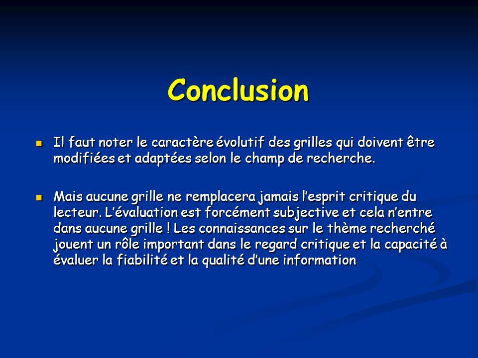 Conclusion Il faut noter le caractère évolutif des grilles qui doivent être modifiées et adaptées selon le champ de recherche.