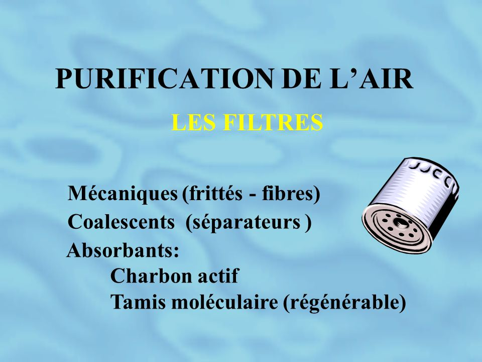 PURIFICATION DE L'AIR LES FILTRES Mécaniques (frittés - fibres)