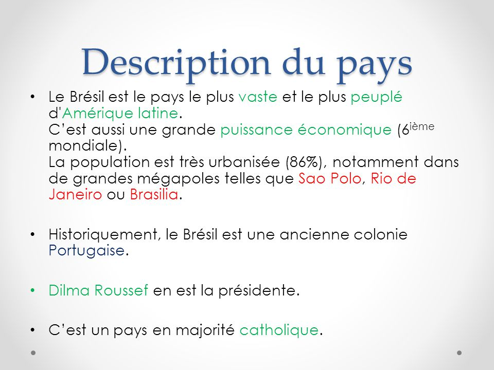 Description du pays