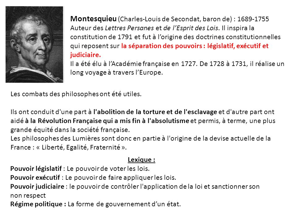 Montesquieu (Charles-Louis de Secondat, baron de) : 1689-1755