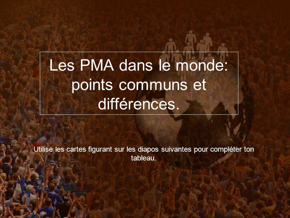 Les PMA dans le monde: points communs et différences.