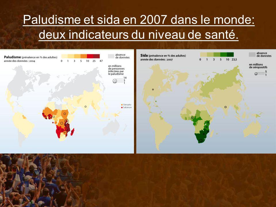 Paludisme et sida en 2007 dans le monde: deux indicateurs du niveau de santé.