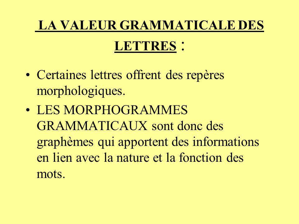 LA VALEUR GRAMMATICALE DES LETTRES :