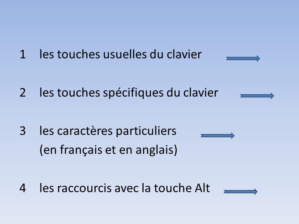 1 les touches usuelles du clavier