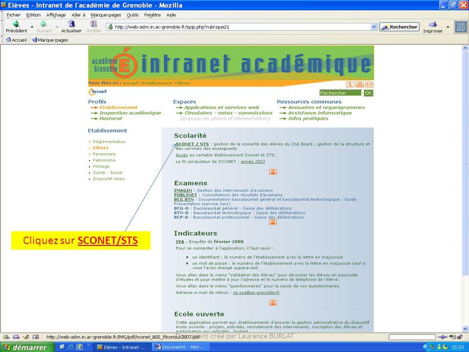 Cliquez sur SCONET/STS