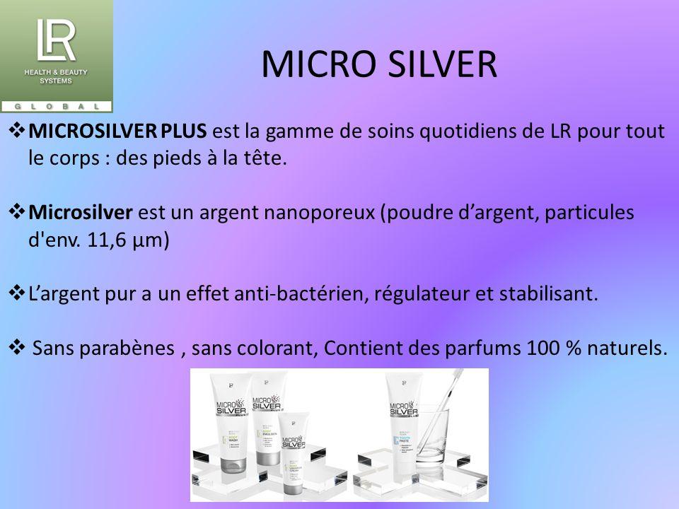 MICRO SILVER MICROSILVER PLUS est la gamme de soins quotidiens de LR pour tout le corps : des pieds à la tête.