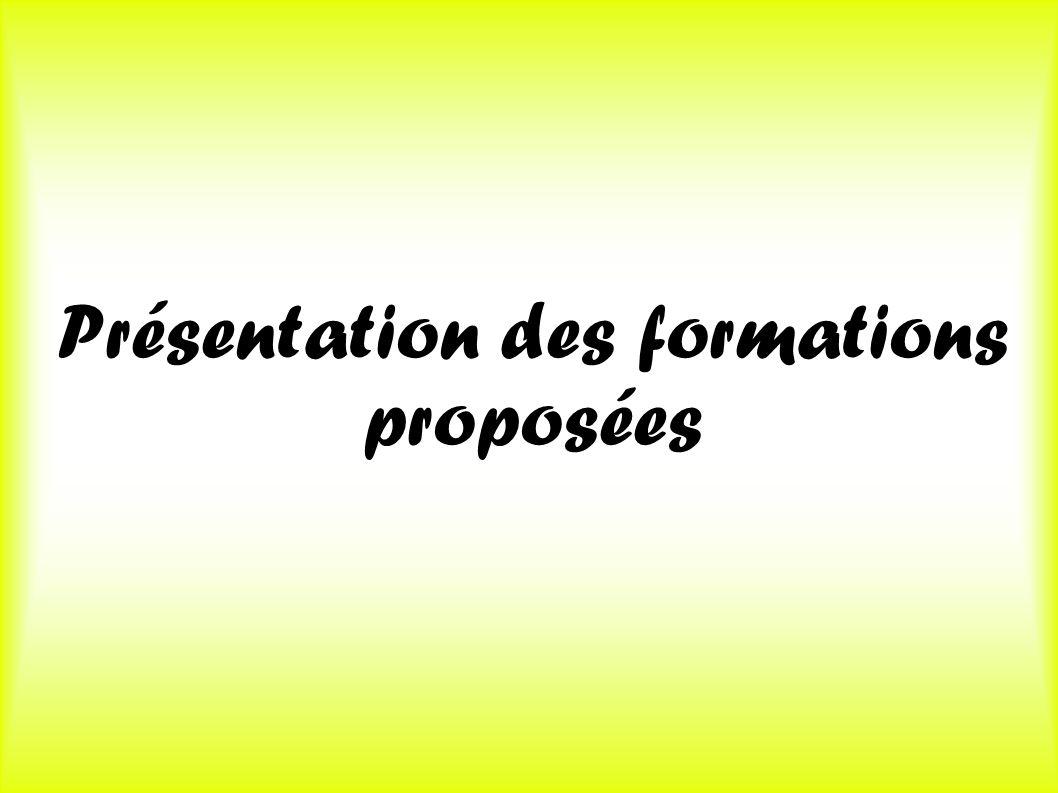 Présentation des formations proposées