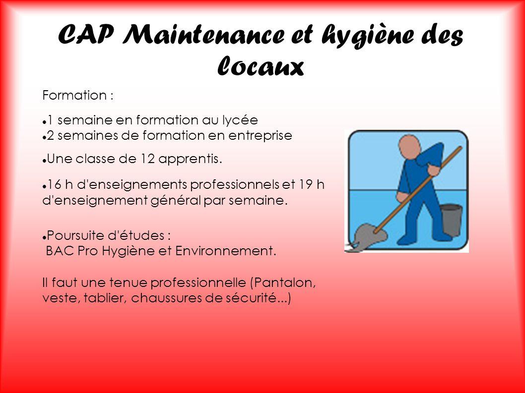 CAP Maintenance et hygiène des locaux