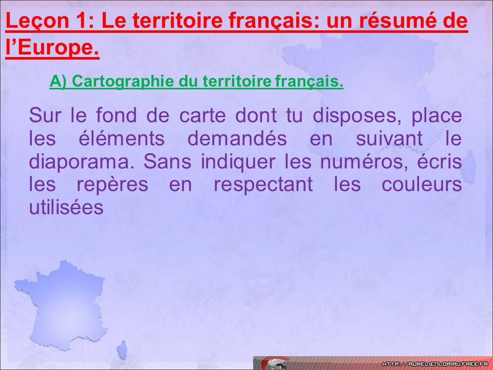 Leçon 1: Le territoire français: un résumé de l'Europe.