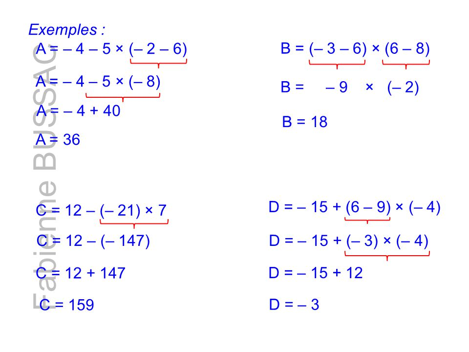 Fabienne BUSSAC Exemples : A = – 4 – 5 × (– 2 – 6)
