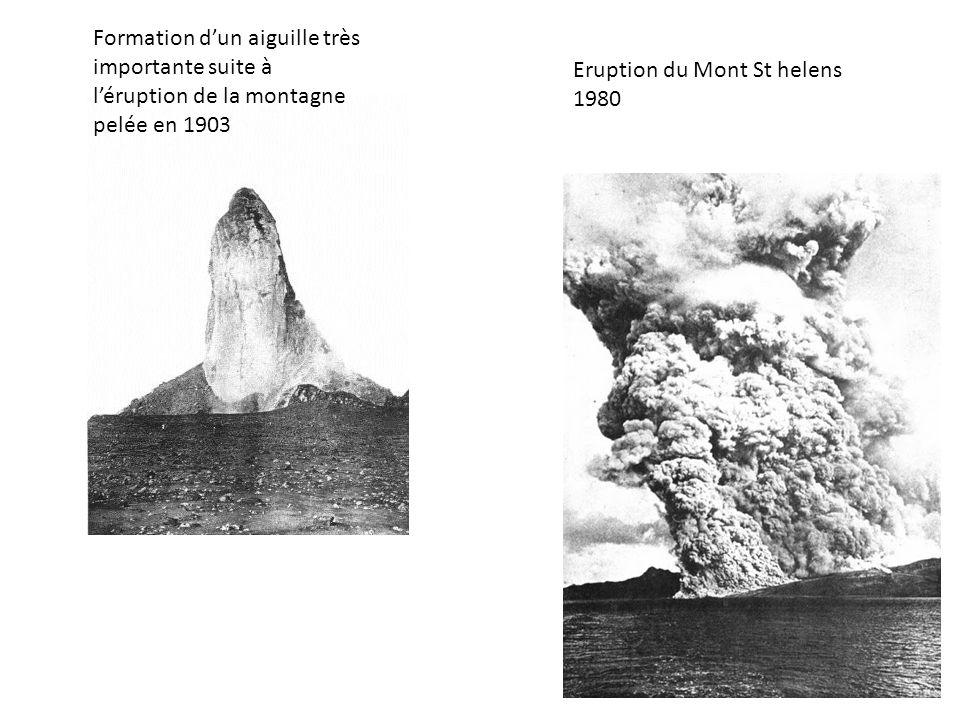 Formation d'un aiguille très importante suite à l'éruption de la montagne pelée en 1903