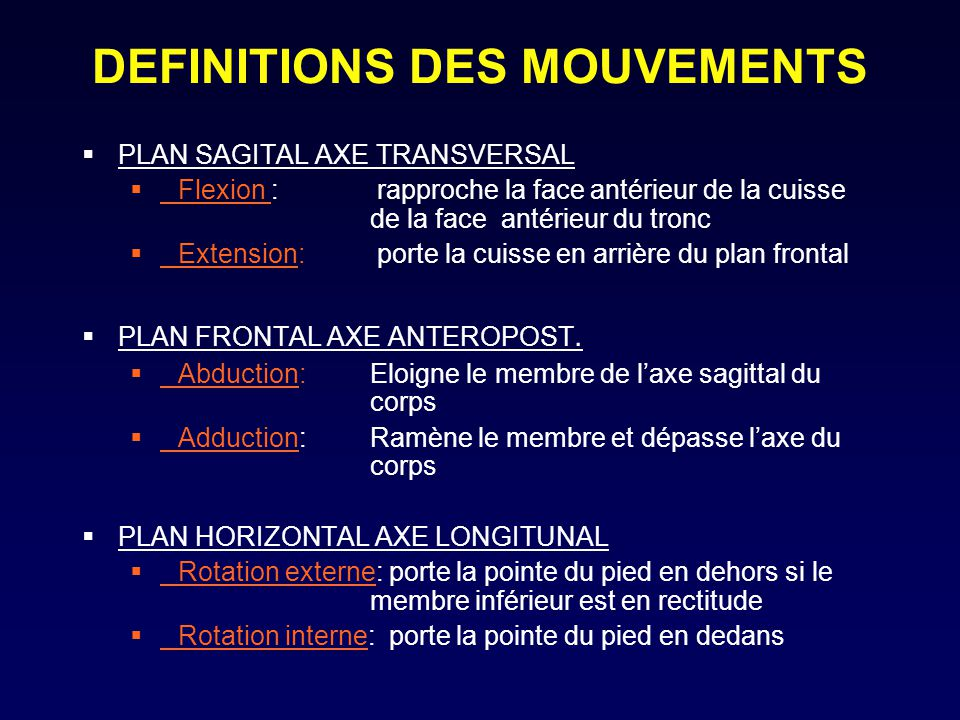 DEFINITIONS DES MOUVEMENTS