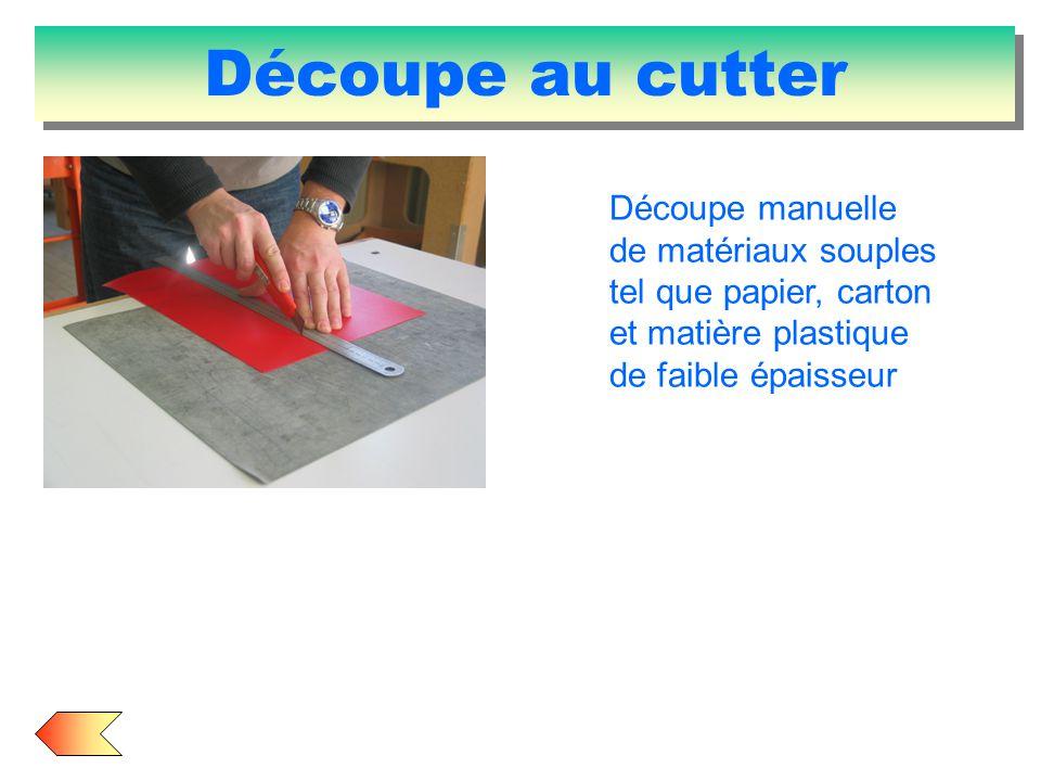 Découpe au cutter Découpe manuelle de matériaux souples tel que papier, carton et matière plastique de faible épaisseur.