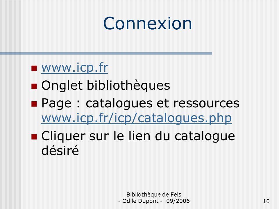 Bibliothèque de Fels - Odile Dupont - 09/2006