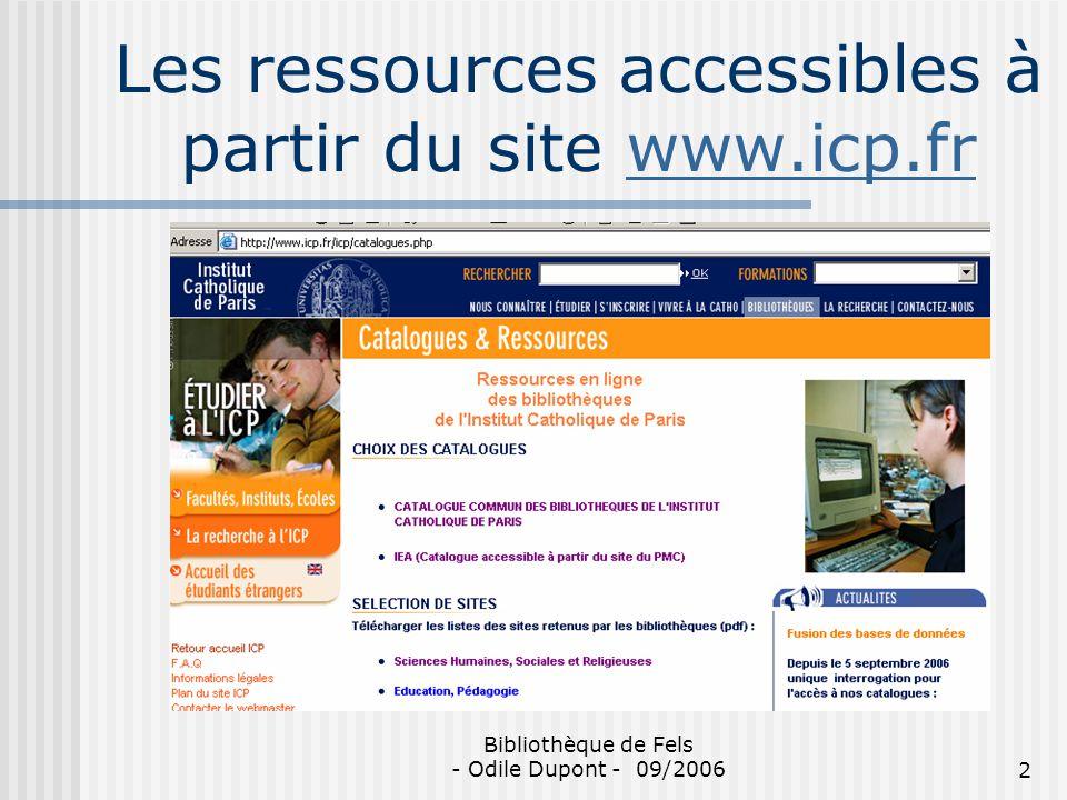 Les ressources accessibles à partir du site www.icp.fr