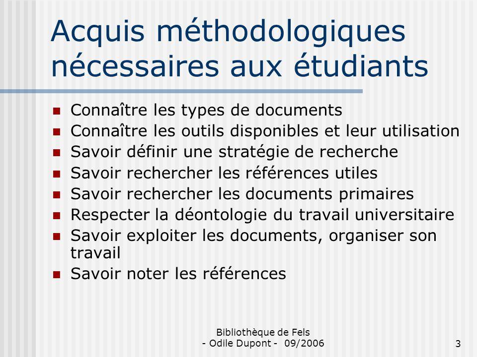 Acquis méthodologiques nécessaires aux étudiants