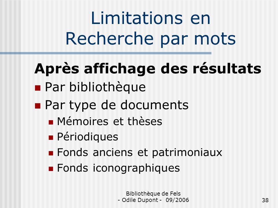 Limitations en Recherche par mots