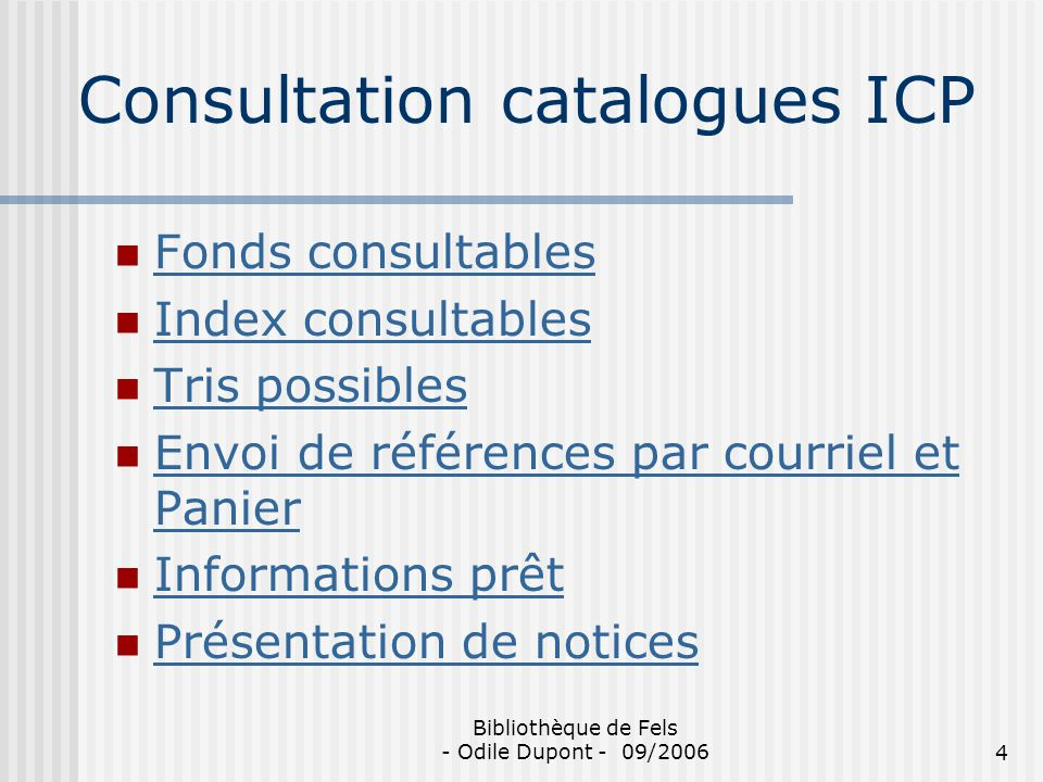 Consultation catalogues ICP